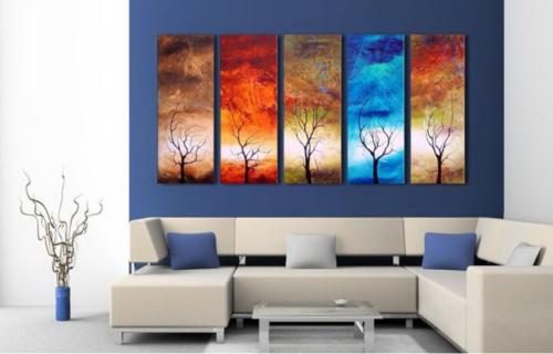 Модульная картина с деревом и стихиями