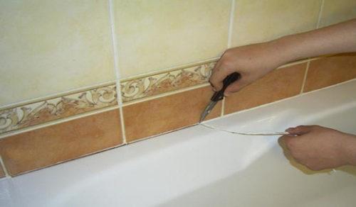 Срезание лишней части материала герметизации