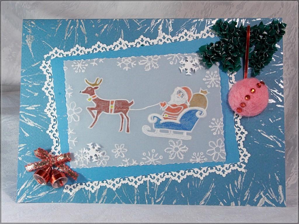 Написать, как сделать открытку деда мороза на новый год